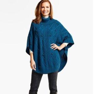 Talbots L Aran Stitch Chunky Knit Sweater Poncho